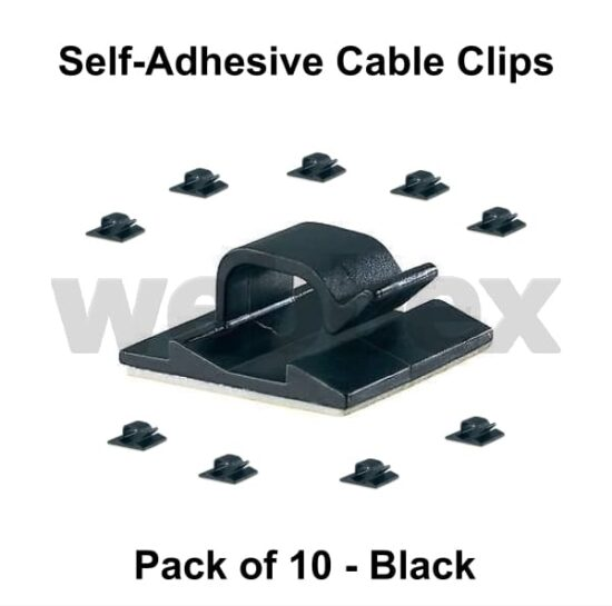Pack of 10 Black Self-Adhesive Cable Clips