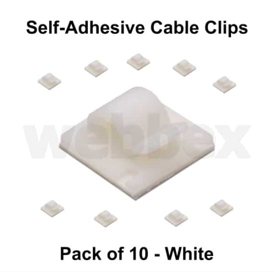 Pack of 10 White Self-Adhesive Cable Clips