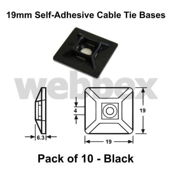 Pack of 10 x 19mm Black Self-Adhesive Cable Tie Bases
