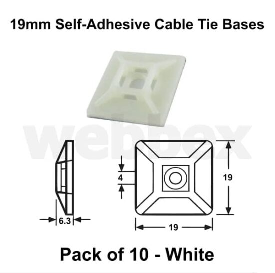 Pack of 10 x 19mm White Self-Adhesive Cable Tie Bases