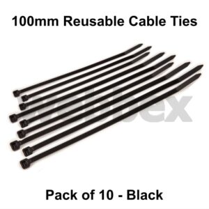 Pack of 10 x 100mm Black Cable Ties