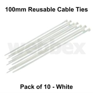 Pack of 10 x 100mm White Cable Ties