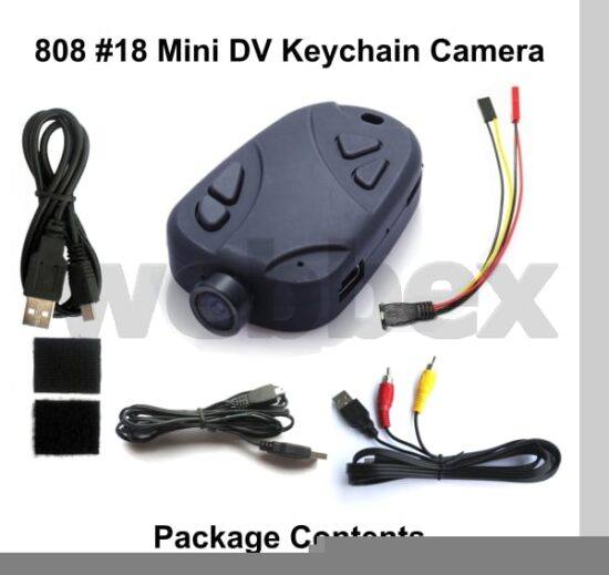 808 #18 Wide Angle Keychain Camera Package Contents
